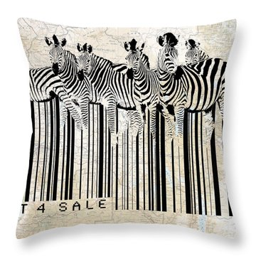 Zebra Barcode Throw Pillow by Sassan Filsoof