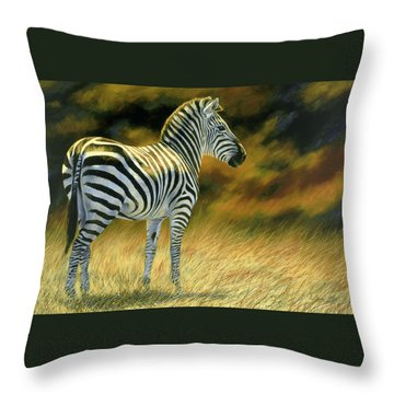 Zebra Throw Pillow by Lucie Bilodeau