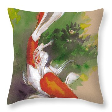 Zen Comet Goldfish Throw Pillow by Tracie Thompson