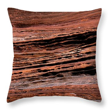 Zion Red Rock Throw Pillow by Rona Black