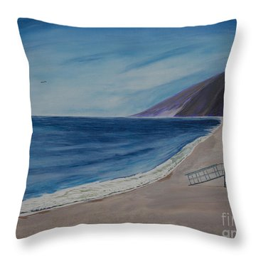 Zuma Lifeguard Tower #5 Throw Pillow by Ian Donley