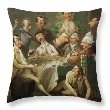 A Caricature Group Throw Pillow by John Hamilton Mortimer