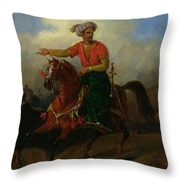 An Ottoman On Horseback  Throw Pillow by Charles Bellier