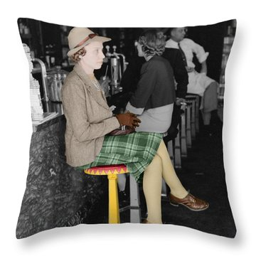 Lady In A Diner Throw Pillow by Andrew Fare