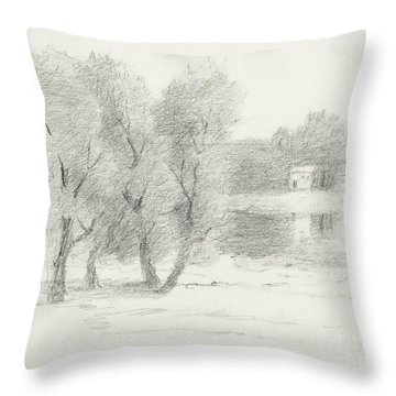 Landscape - Late 19th-early 20th Century Throw Pillow by John Henry Twachtman