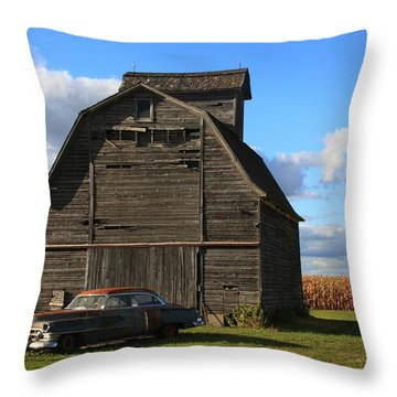 Vintage Cadillac And Barn Throw Pillow by Lyle Hatch