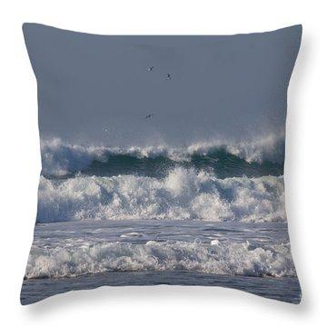 Porthtowan Cornwall Throw Pillow by Brian Roscorla
