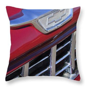 1955 Chevrolet Pickup Truck Grille Emblem Throw Pillow by Jill Reger