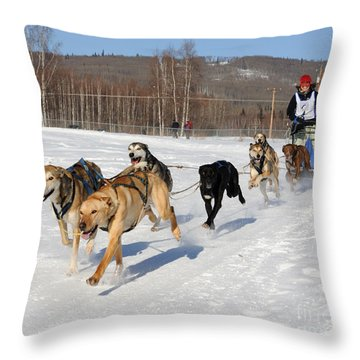 2010 Limited North American Sled Dog Race Throw Pillow by Gary Whitton