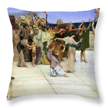 A Dedication To Bacchus Throw Pillow by Sir Lawrence Alma-Tadema