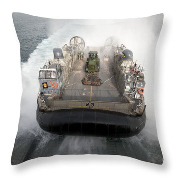 A Landing Craft Air Cushion Enters Throw Pillow by Stocktrek Images