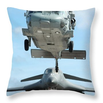 A U.s. Navy Mh-60s Seahawk Helicopter Throw Pillow by Stocktrek Images