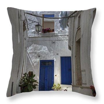 Apulia - Blue-white Throw Pillow by Joana Kruse
