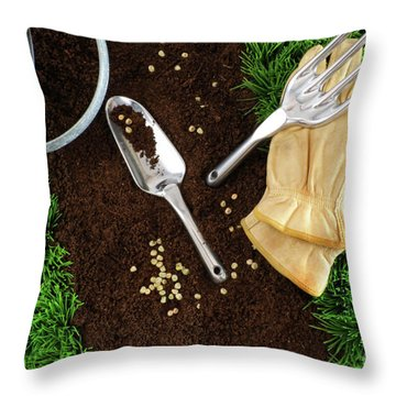 Assortment Of Garden Tools On Earth Throw Pillow by Sandra Cunningham