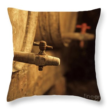 Barrels Of Wine In A Wine Cellar. France Throw Pillow by Bernard Jaubert