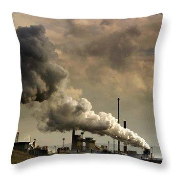 Black Smoke Emitting From Factory Throw Pillow by John Short