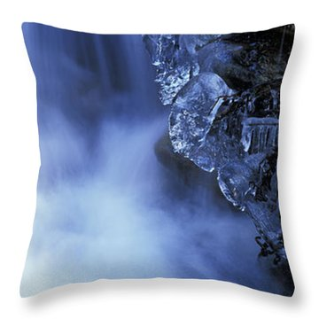Blue Icy Waterfall Throw Pillow by Ulrich Kunst And Bettina Scheidulin