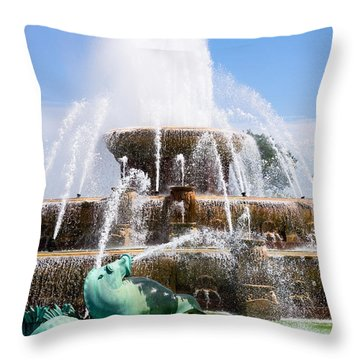 Buckingham Fountain In Chicago Throw Pillow by Paul Velgos