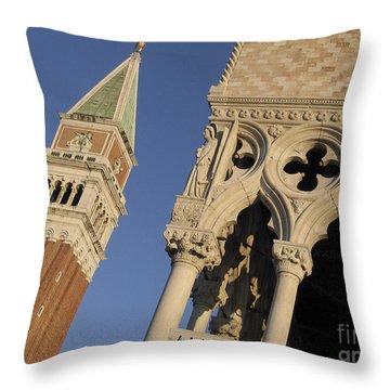 Campanile. Plazza San Marco. Venice Throw Pillow by Bernard Jaubert
