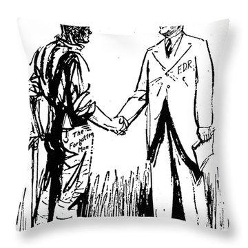 Cartoon: Fdr & Workingmen Throw Pillow by Granger