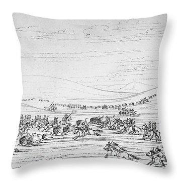 Catlin: Buffalo Hunt Throw Pillow by Granger