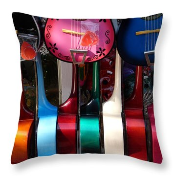 Colorful Guitars Throw Pillow by Jeff Lowe