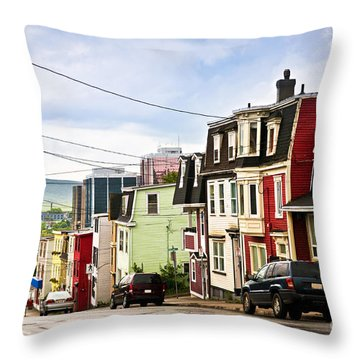 Colorful Houses In Newfoundland Throw Pillow by Elena Elisseeva