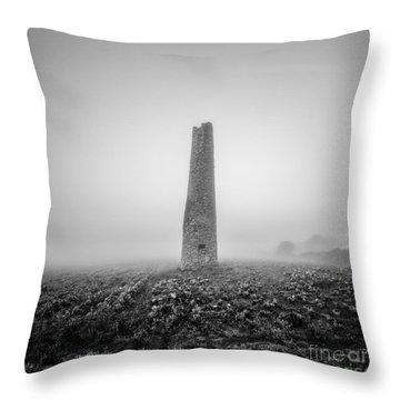 Cornish Mine Chimney Throw Pillow by John Farnan