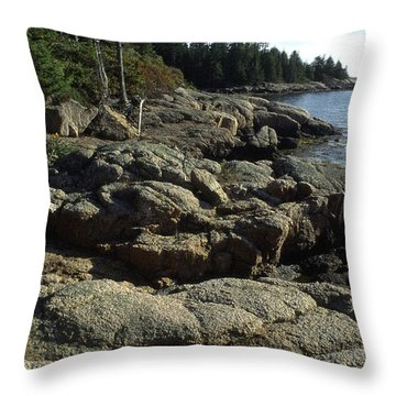Deer Isle Shoreline Throw Pillow by Thomas R Fletcher
