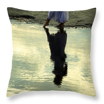 Dipping The Foot Throw Pillow by Joana Kruse