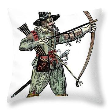 English Archer, 1634 Throw Pillow by Granger