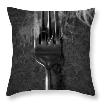 Fork And Feather Throw Pillow by Joana Kruse