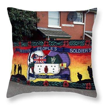 Freedom Corner Mural Belfast Throw Pillow by Thomas R Fletcher