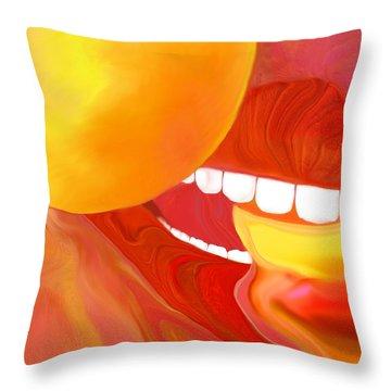 Fresh Peaches Taste Like Sunshine Throw Pillow by Mathilde Vhargon