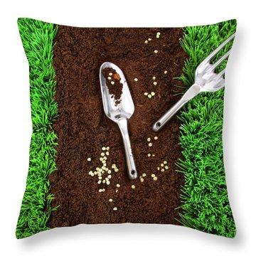 Garden Tools On Earth Throw Pillow by Sandra Cunningham