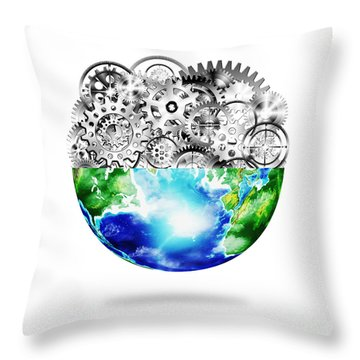 Globe With Cogs And Gears Throw Pillow by Setsiri Silapasuwanchai