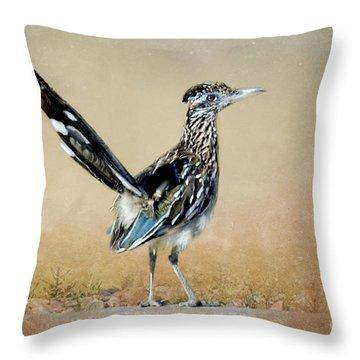 Greater Roadrunner Throw Pillow by Betty LaRue