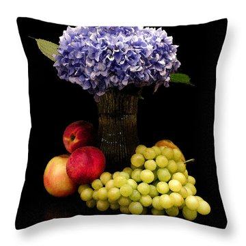 Hydrangea And Fruit Throw Pillow by Sandi OReilly