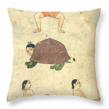 Islamic Mythical Creatures, 17th Century Throw Pillow by Photo Researchers