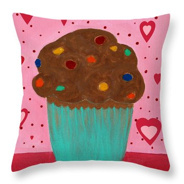 M And M Cupcake Throw Pillow by Barbara Griffin