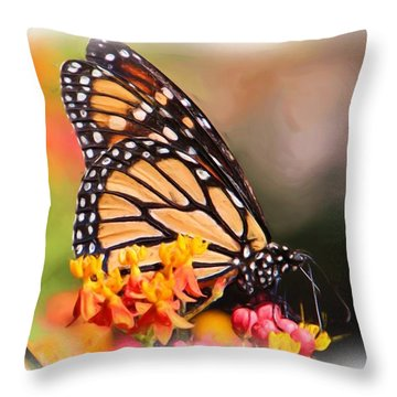 Monarch And Milkweed Throw Pillow by Heidi Smith