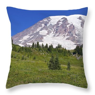 Mount Rainier Meadow Throw Pillow by Sean Griffin