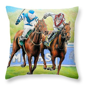 Nearing The Finish Throw Pillow by Andrew Read