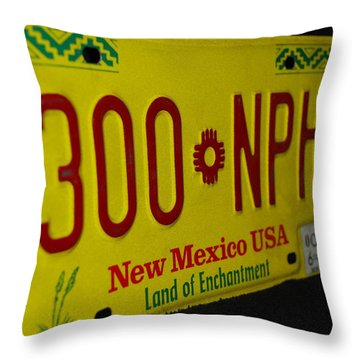New Mexico Tag Throw Pillow by Rob Hans