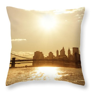 New York City Sunset Throw Pillow by Vivienne Gucwa