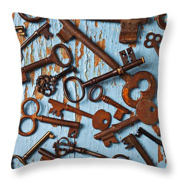 Old Skeleton Keys Throw Pillow by Garry Gay