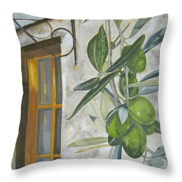 Olives In Tuscany Throw Pillow by John Schuller