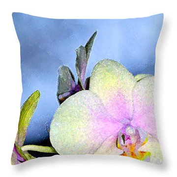 Orchid 1 Throw Pillow by Pamela Cooper