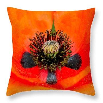Poppy Heart Throw Pillow by Karon Melillo DeVega