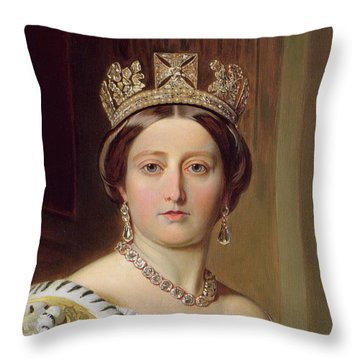 Portrait Of Queen Victoria Throw Pillow by Franz Xavier Winterhalter